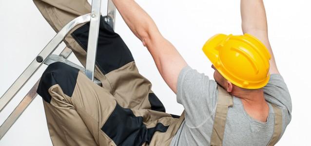 man falling off ladder