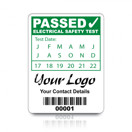 Custom PAT Test Labels - Design 2. Choice of colours