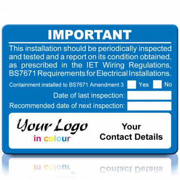 Personalised Periodic Inspection Labels in a Range of Colours