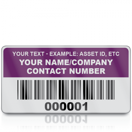 Heavy Duty Standard Size Asset ID Labels - Design 2. Choice of Colours