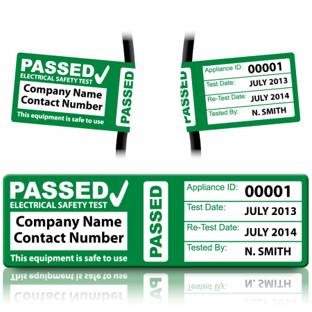 Personalised 3rd Edition Passed PAT Wrap Labels for PAT Testing. Choice of Colours