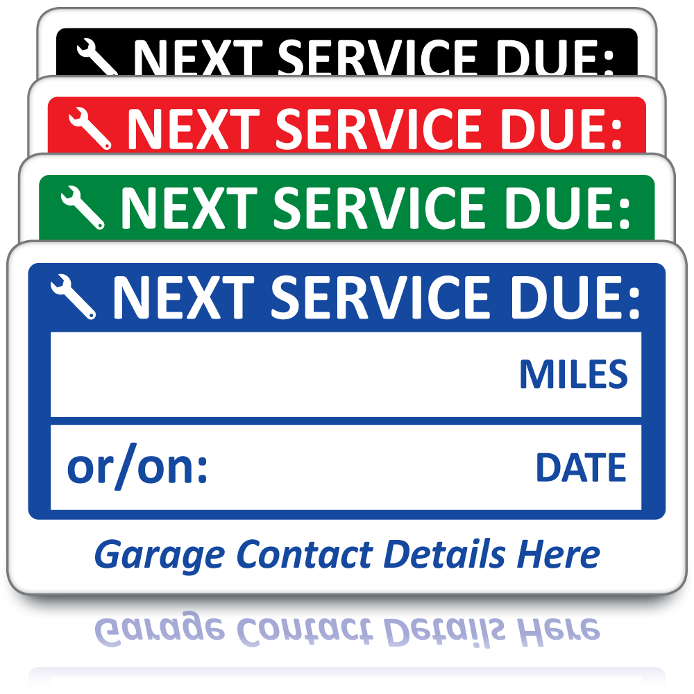 Buy Personalised Next Service Due Labels Free Fast Delivery