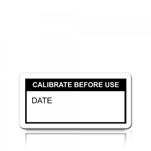 Calibrate Before Use Labels in Black
