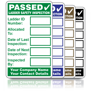 Personalised Ladder Safety Inspection Labels. Choice of colours