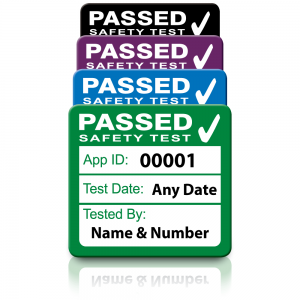 Personalised Plug Top 4th Edition Passed PAT Test Labels. Choice of Colours