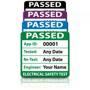 Personalised Plug Top 3rd Edition Passed PAT Test Labels. Choice of Colours