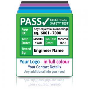 Super Stick PAT Test Labels Fully Customisable - Sticks to almost anything! Design 1