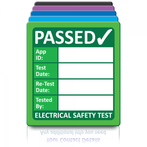 Super Stick PAT Test Labels - Sticks to almost anything! Design 1. Choice of colours